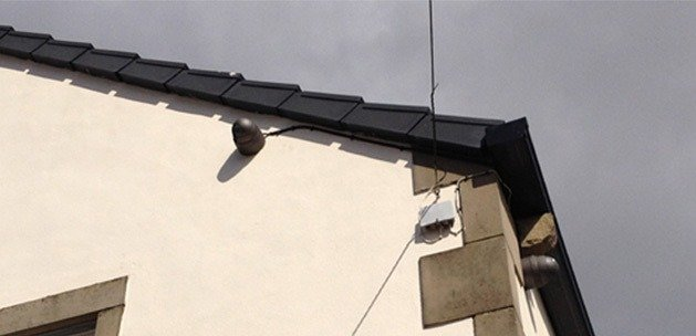Camera on side of house