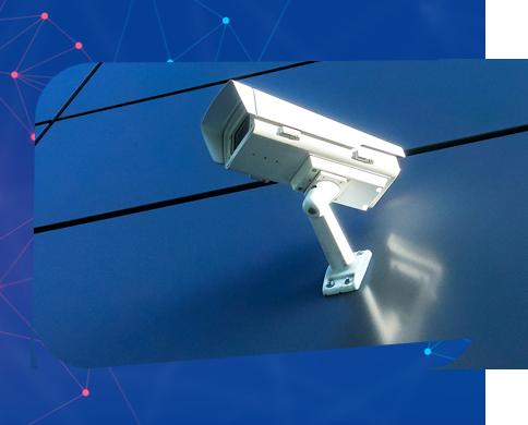 Bullet CCTV camera installed to building